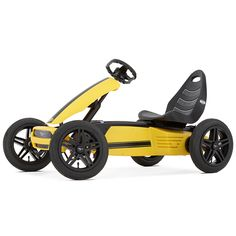 The Ford Mustang GT pedal kart is a yellow hotrod that comes with a variety of features:- The unique BFR drive system allows you to pedal backward to brake, then back-up or continue forward. - Extra w