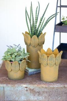 Kalalou Clay Flower Pots With Leaf Borders - Set Of 3