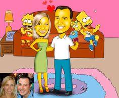 Caricaturas digitais, desenhos animados, ilustração, caricatura realista: Casal a moda Simpsons !!