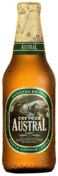 Cerveja Austral Lager, estilo Premium American Lager, produzida por Cerveceria Austral, Chile. 4.6% ABV de álcool.