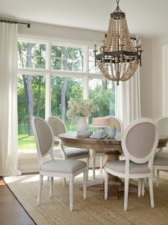 Great proportion and height for this lovely chandelier. Neutral Home Interior Ideas