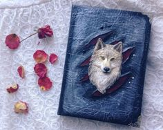Notebook, journal with polymer clay cover, Black handmade diary with fantastic wild wolf (A5)