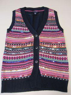 Tommy Hilfiger Wms striped sequin Swtr Vest w/multi color Size Large $89.50 NWT #TommyHilfiger #VNeck