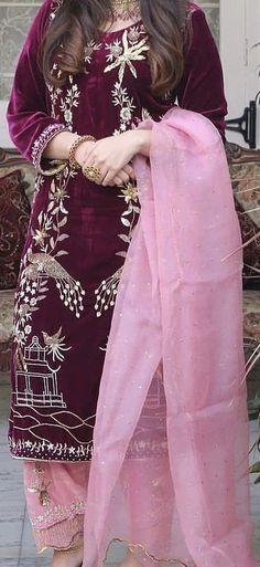 Embroidery Suits Punjabi, Embroidery Suits Design, Embroidery Designs, Bridal Suits Punjabi, Pakistani Bridal Dresses, Pakistani Fashion Casual, Indian Fashion, Indian Designer Outfits, Designer Dresses