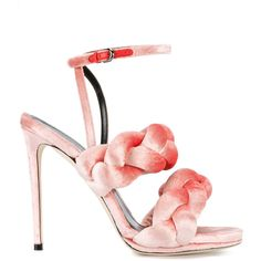 Marco De Vincenzo braided ankle strap sandals ($453) ❤ liked on Polyvore featuring shoes, sandals, pink, ankle strap sandals, ankle wrap shoes, ankle strap shoes, marco de vincenzo sandals and pink sandals