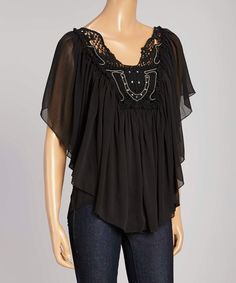 Look at this Black Crochet Lace Angel-Sleeve Top on #zulily today!