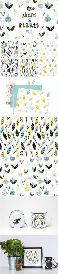 Birds&Plants #Vector #Patterns