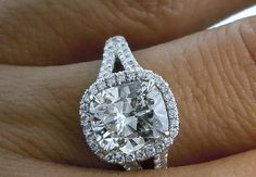 Cushion cut Moissanite & Diamonds Engagement White Gold on Etsy Fine Jewelry Anniversary ring Halo Split shank Cushion Cut Halo Ring, Cushion Cut Engagement Ring, Cushion Diamond, Cushion Cut Diamonds, Diamond Engagement Rings, Engagement Ring Buying Guide, Bling, Wedding Rings Vintage, Diamond Cuts