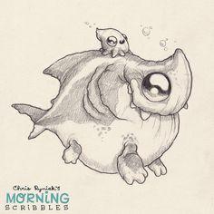 Artwork of Chris Ryniak. He LOOOVES his little monster creatures. Doodle Monster, Monster Drawing, Monster Art, Cute Monsters Drawings, Animal Drawings, Cute Drawings, Art Minimaliste, Little Monsters, Creature Design