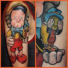 #KAWS #Pinocchio tattoo applied by @jeffdraw - @highvoltagetat- #webstagram