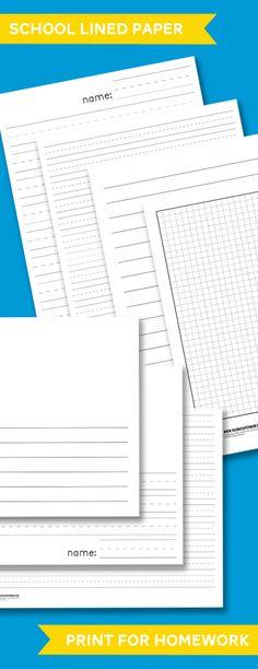 Free Printable School Lined Paper including Spaulding & Primary Lined Handwriting Paper #printables #spaulding #kindergarten #preschool #homeschool