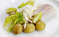 baked cod with celery remoulade and hot potato salad