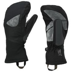 Black women's insulated waterproof Mountain Hardwear Asteria mountain climbing mittens.