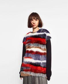 マルチカラーフェイクファースウェットシャツ-今週の新商品-TRF   ZARA 日本