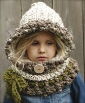 Make a cozy hooded cowl. Hat & Scarf crochet pattern - Hooded Scarf Crochet Patterns – Great Cozy Gift - A More Crafty Life Crochet Hooded Scarf, Hooded Cowl, Crochet Scarves, Knit Crochet, Crochet Hats, Velvet Acorn, Knitting Patterns, Crochet Patterns, Crochet Designs