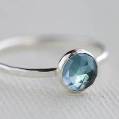 Stacking London Blue Topaz and Sterling Silver  Ring by 36ten, $43.00 USD