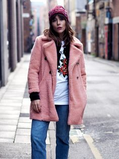Style Notes: A pink coat just makes everything better, no matter the weather. Megan Ellaby's cuddly River Island style is the perfect partner to jeans and can be clashed with a raspberry...