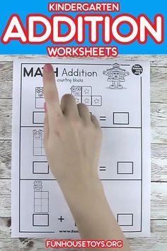 Kindergarten Addition Worksheets, Kindergarten Homeschool Curriculum, Kids Math Worksheets, Preschool Lesson Plans, Homeschool Kindergarten, Preschool Learning Activities, Preschool Math, Math Resources, Grammar For Kids
