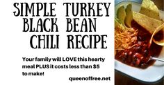 This is the best! A simple, fool proof Turkey Black Bean Chili recipe that your family will love (PLUS it costs less than $5 to make!).