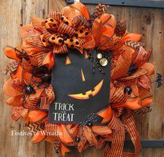 Halloween Deco Mesh Wreath Halloween Decor by FestivalofWreaths