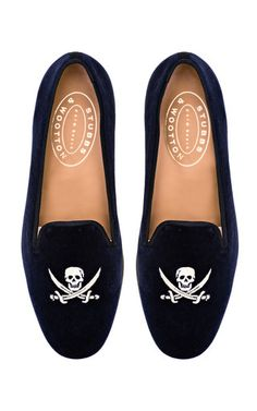 Stubbs & Wootton Skull Loafer In Navy Velvet by STUBBS & WOOTTON for Preorder on Moda Operandi