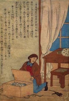 Unidentified Japanese Meiji artist, Audubon Opening His Box of Watercolors Destroyed by Norway Rats (Ukiyo-e woodblock print), c. 1872–77.