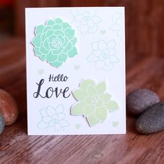 Hello Love - Stamping and die cutting with Waffle Flower coordinating stamps and dies makes cardmaking quick and easy!