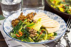 Romige spinazie & prei in kokosmelk met shoarma