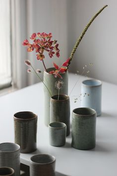 Florian Gadsby, crackle and nuka glaze vases, reduction fired and crash cooled.