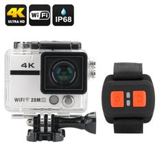 Ultra HD 4K Action Camera Clarion - 20MP 170 Degree Lens Sony CMOS Wrist Remote Control Wi-Fi DVR Loop Recording (White)