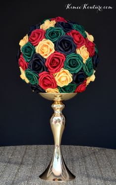 birthday to do Flower Ball Centerpiece, Red Centerpieces, Wedding Table Centerpieces, Mickey Centerpiece, Crown Centerpiece, Birthday Centerpieces, Reception Decorations, Jamaican Party, Jamaican Wedding