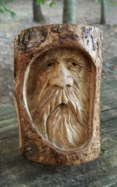 woodspirit greenman ol man of the woods by WoodcarvingByMike, $35.00