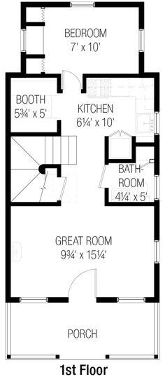 Cottage Style House Plan - 3 Beds 1.5 Baths 843 Sq/Ft Plan #915-6 Floor Plan - Main Floor Plan - Houseplans.com