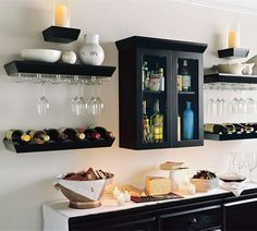 Love the liquor cabinet/wine glass racks