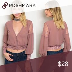 Mauve Chiffon & Lace Long Sleeve Semi-Sheer Top New with tags. Chiffon & lace top.                                              🌸100% polyester.                                                                     🌺PRICE IS FIRM UNLESS BUNDLED.                                  ❌SORRY, NO TRADES. Boutique Tops Blouses
