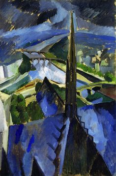 The Spire of Notre-Dame  Robert Delaunay - circa 1909-1910  Private collection	 Painting - oil on canvas  Height: 81.2 cm (31.97 in.), Width: 54.9 cm (21.61 in.)
