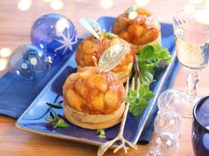 Petites Tatins de foie gras  aux pommes