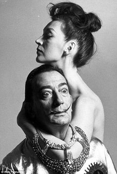 Salvador Dali with wife Gala.  Despite their appearance as a real pair of freaks, they were married for years; and after she died, the artist himself didn't last much longer. But that's the sad part.  I love his art.  His Crucifition of Christ is the most awesome painting of its kind ever made. Portrait, Tattoos, Art, Kunst, Tat, Gcse Art, Tattoo, Tattooed Guys, Paintings