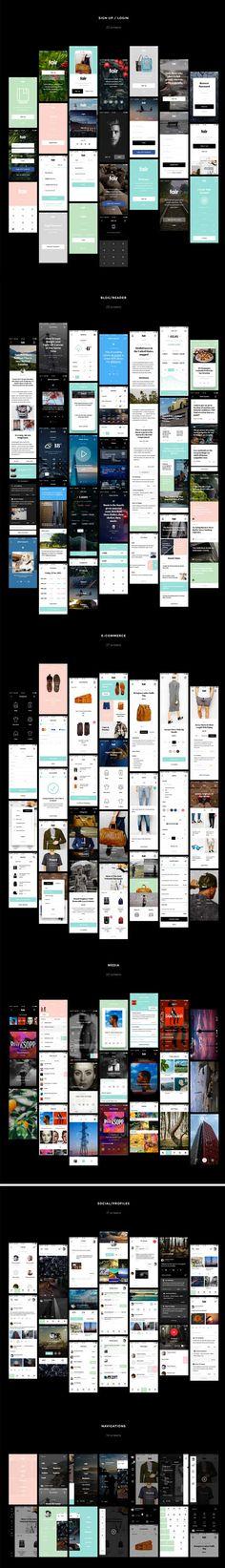 Free Fair Mobile UI Kit PSD Sketch Screens Preview