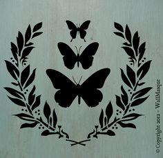Butterflies&LaurelSimplicity Stencil  10 x by WallMasqueStencilCo, $18.00