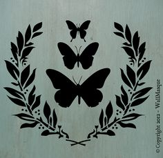 "Butterflies&LaurelSimplicity Stencil - 10"" x 8.42"" - A beautiful simple stencil that's just perfect for shabby chic or french country"