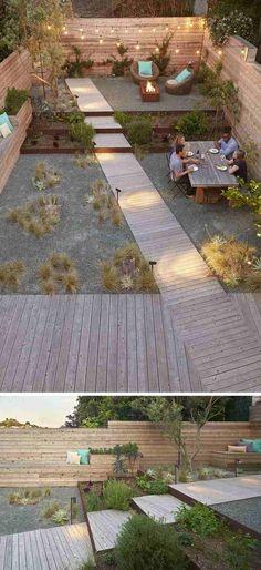 aménagement-extérieur-maison-arrière-cour-bois-composite-graviers