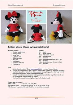 Best 12 Mickey Mouse Crochet pattern – Amigurumi toy PDF pattern – Disney Toys – Mouse toys for kids – Knit Fluffy tutorial – Crochet Disney – Crochet animals – Stuffed Mickey Mouse – SkillOfKing. Disney Crochet Patterns, Crochet Doll Pattern, Crochet Dolls, Crochet Yarn, Doll Patterns, Crochet Mickey Mouse, Minnie Mouse Doll, Crochet Patterns Amigurumi, Stuffed Toys Patterns