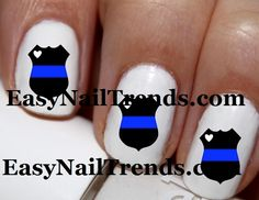 20 pc Thin Blue Line  Police Love Cop Love I by EasyNailTrends