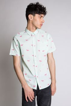 c27519e2457 Mint Flamingo Icon-Printed Woven Button Up Shirt