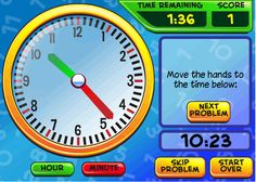 MATH PIN: A website with endless interactive games and activities for math, history, language arts and science. Telling Time Games, Telling Time Activities, Teaching Time, Teaching Math, Kindergarten Math, Math Activities, Maths Fun, Math Games, Teaching Tools