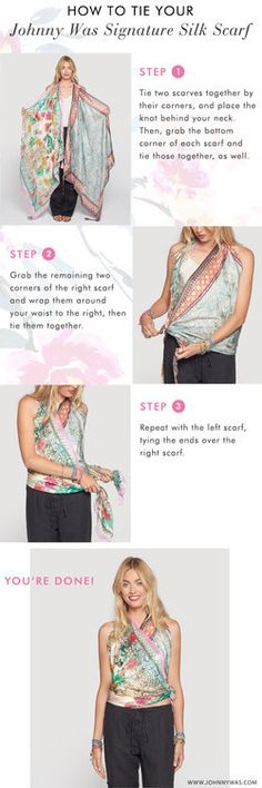 One of the most unique ways to wear our Signature Silk Scarves is to combine two of them into this bohemian-chic top. This look is perfect for the hot summer weather, and you can customize it in infinitely many ways depending on the two prints that you choose! Check out the step-by-step instructions on how to tie your Johnny Was Signature Silk Scarves into a top.