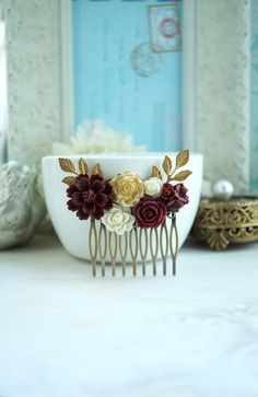 Wedding Hair Comb, Burgundy, Ivory, Maroon Red and Gold Wedding, Maroon Ivory Gold Rose Flower Hair Piece, Rustic Romantic, Bridesmaids Gift