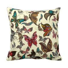 Colorful Vintage Butterflies Throw Pillow