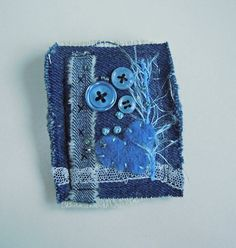 Upcycled Denim Textile Art Fibre Brooch Pin by mbSTITCH on Etsy, £7.50